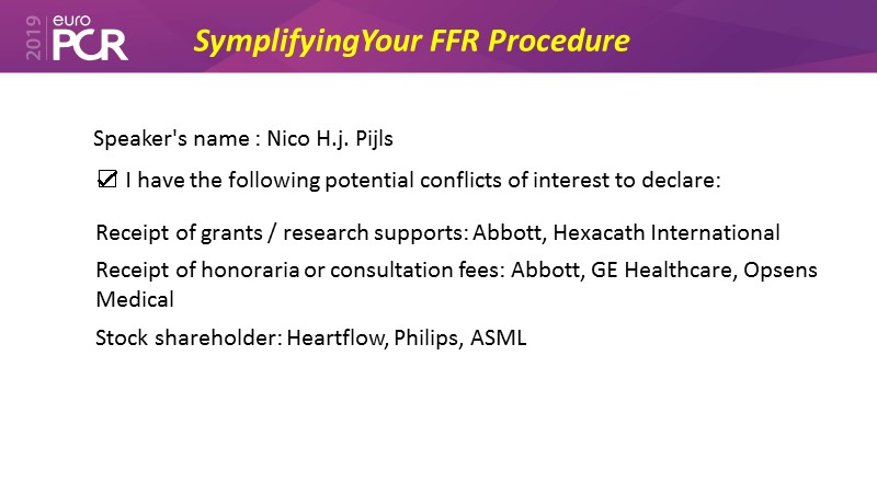 Simplifying your FFR procedure